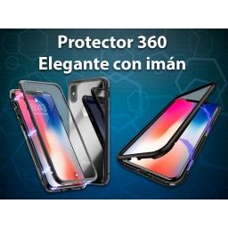PROTECTOR 360 ELEGANTE CON IMAN SAMSUNG A7 2018 PLATEADO