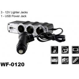 CARGADOR TRIPLE 12V DE AUTO + 1 USB
