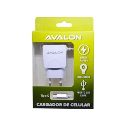 CARGADOR AVALON CABLE TIPO C INTEGRADO Y PUERTO USB LIBRE 2,1 A