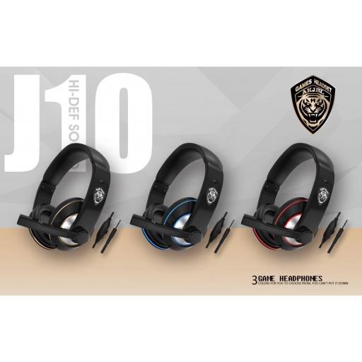 AURICULARES J10 GAMER HEADSET CON MICROFONO DORADO