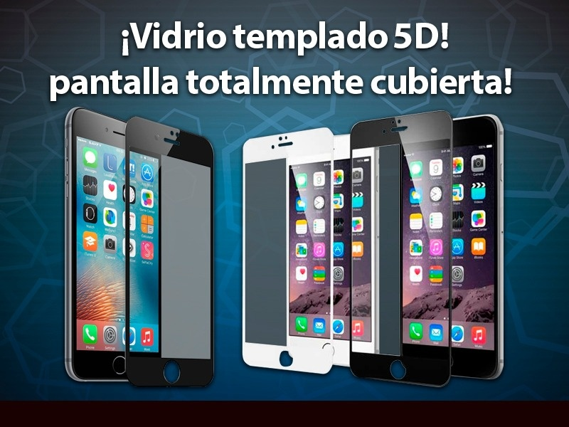 VIDRIO FULL COVER IPHONE 7/8 PLUS NEGRO ADHIERE TODA LA PANTALLA