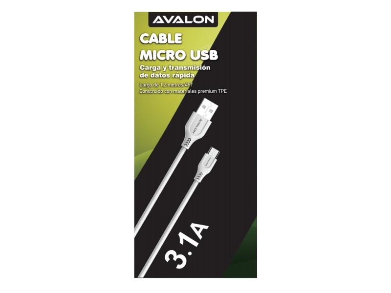 CABLE DE DATOS Y CARGA AVALON MICRO USB CON VELCRO