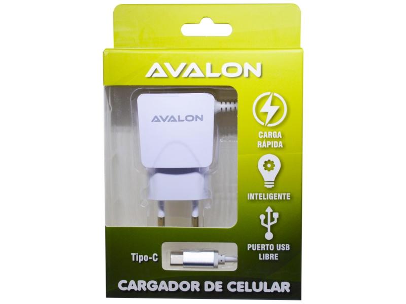 CARGADOR AVALON CABLE TIPO C INTEGRADO Y PUERTO USB LIBRE 2,1 A