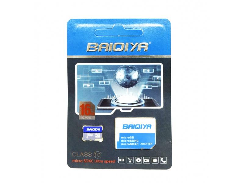 MEMORIA MICRO SD 16GB CLASE 10 C/ADAP BAIQIYA